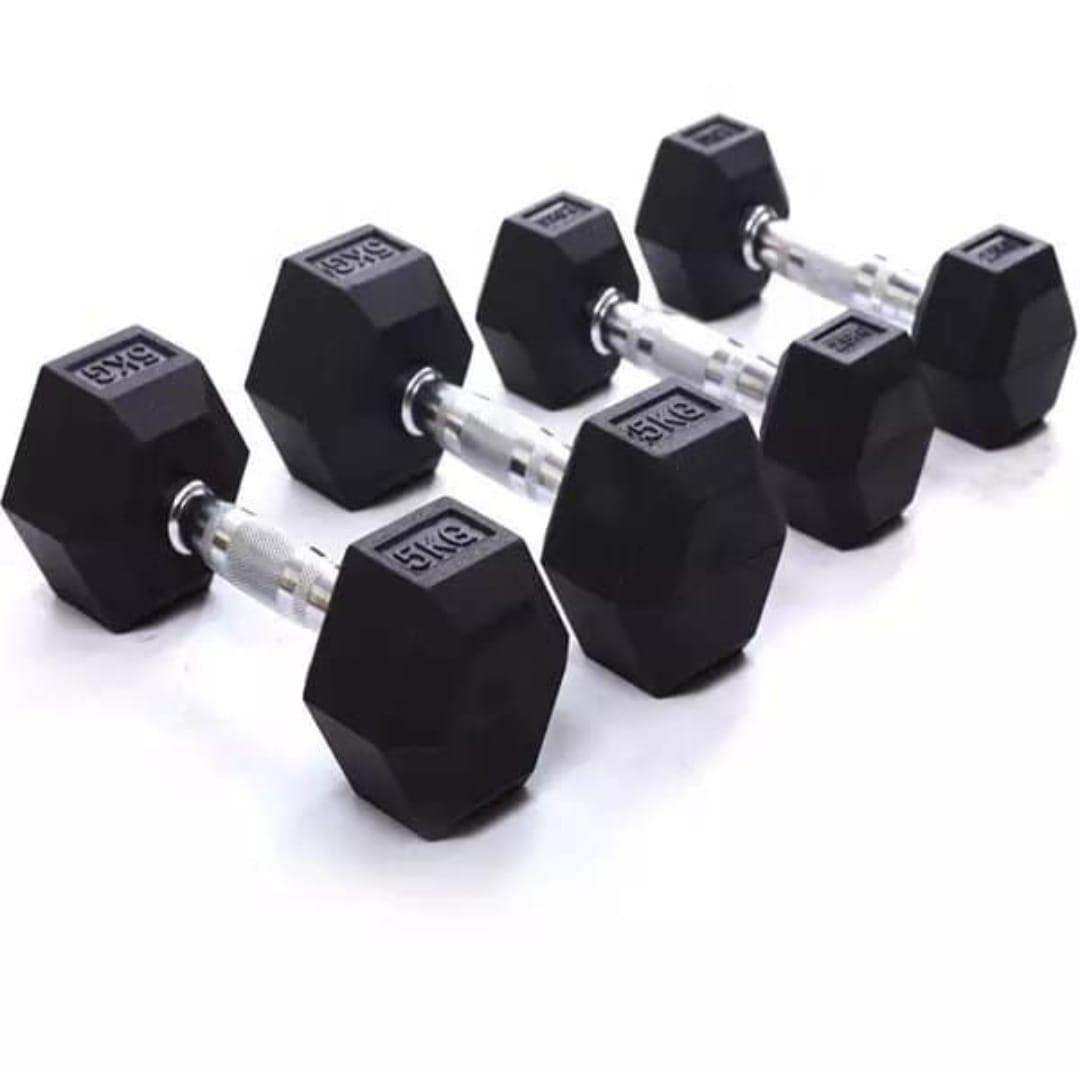 Sports Hexagon Halt/ère Courte en Caoutchouc 1-60 kg avec rev/êtement et poign/ée chrom/ée Ergonomique C.P 1,5kg-Paar